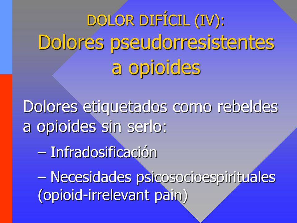 DOLOR DIFÍCIL (IV): Dolores pseudorresistentes a opioides