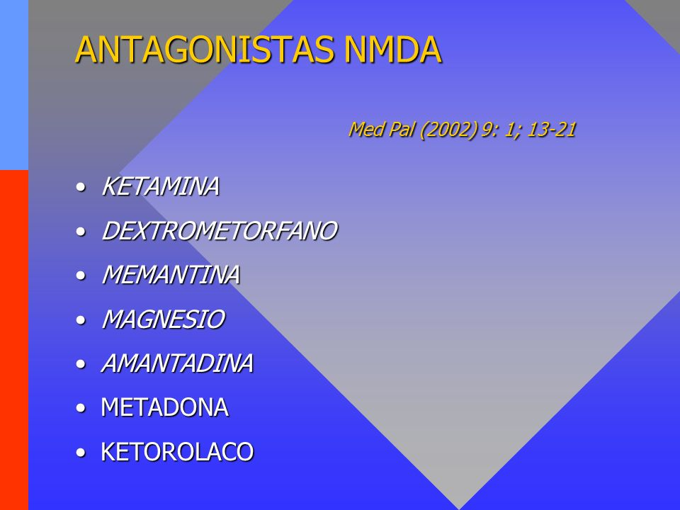 ANTAGONISTAS NMDA Med Pal (2002) 9: 1; 13-21