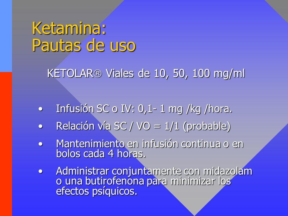 Ketamina: Pautas de uso