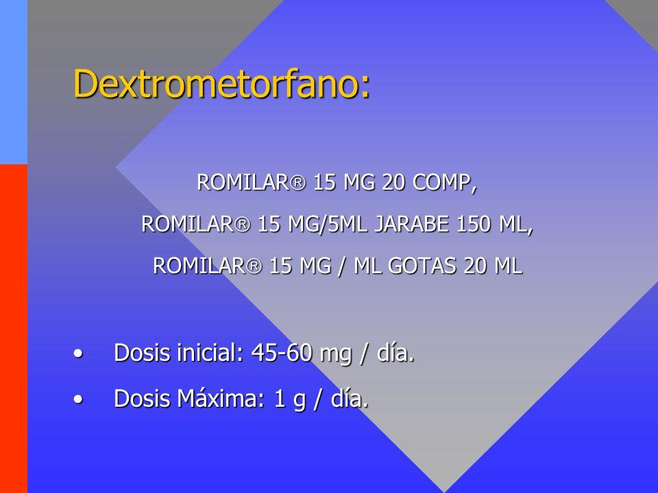 Dextrometorfano: Dosis inicial: 45-60 mg / día.