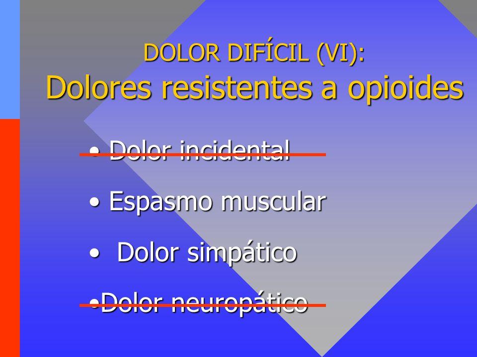 DOLOR DIFÍCIL (VI): Dolores resistentes a opioides