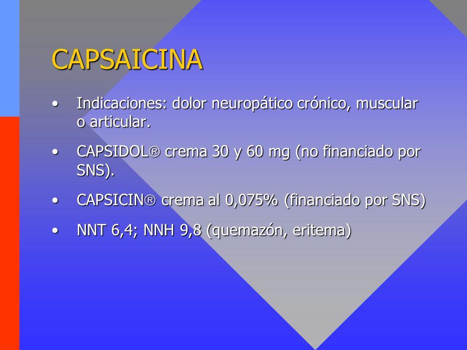 CAPSAICINA Indicaciones: dolor neuropático crónico, muscular o articular. CAPSIDOL crema 30 y 60 mg (no financiado por SNS).