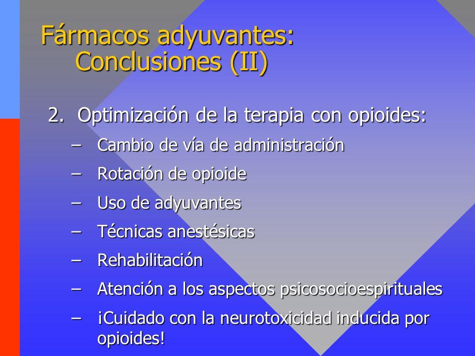 Fármacos adyuvantes: Conclusiones (II)