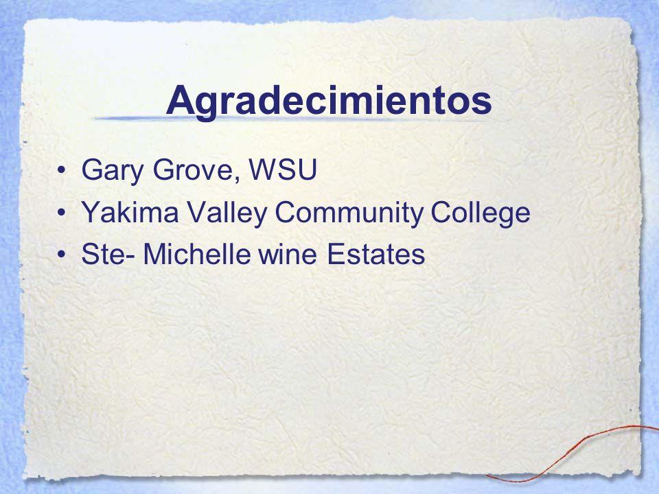 Agradecimientos Gary Grove, WSU Yakima Valley Community College