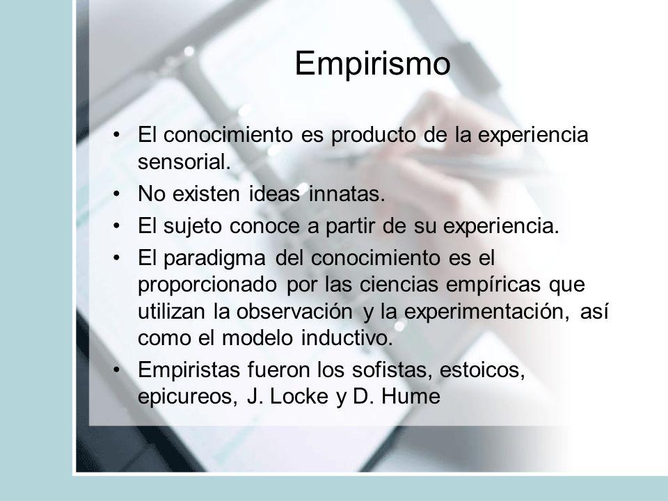 Empirismo El conocimiento es producto de la experiencia sensorial.