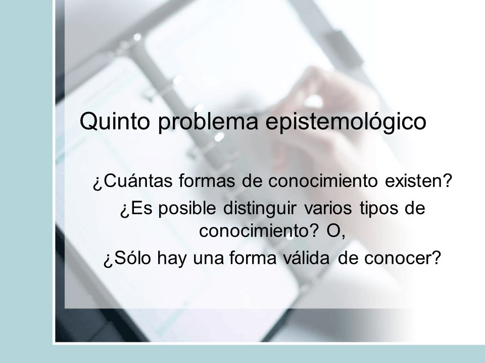 Quinto problema epistemológico