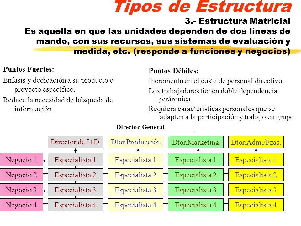 Tipos de Estructura 3.- Estructura Matricial Es aquella en que las unidades dependen de dos líneas de mando, con sus recursos, sus sistemas de evaluación y medida, etc. (responde a funciones y negocios)