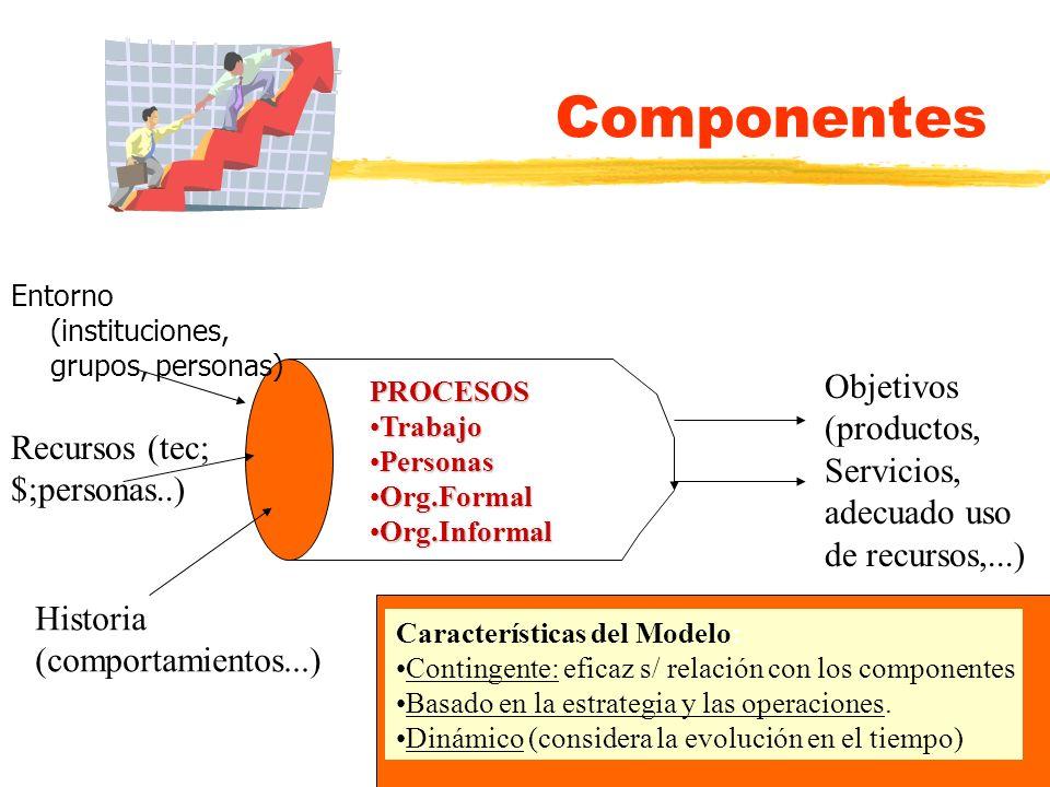 Componentes Entorno (instituciones, grupos, personas) Objetivos (productos, Servicios, adecuado uso de recursos,...)