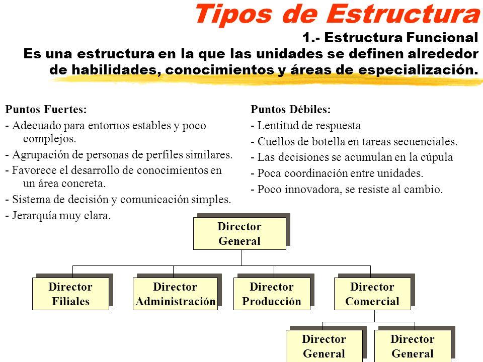 Tipos de Estructura 1.- Estructura Funcional Es una estructura en la que las unidades se definen alrededor de habilidades, conocimientos y áreas de especialización.