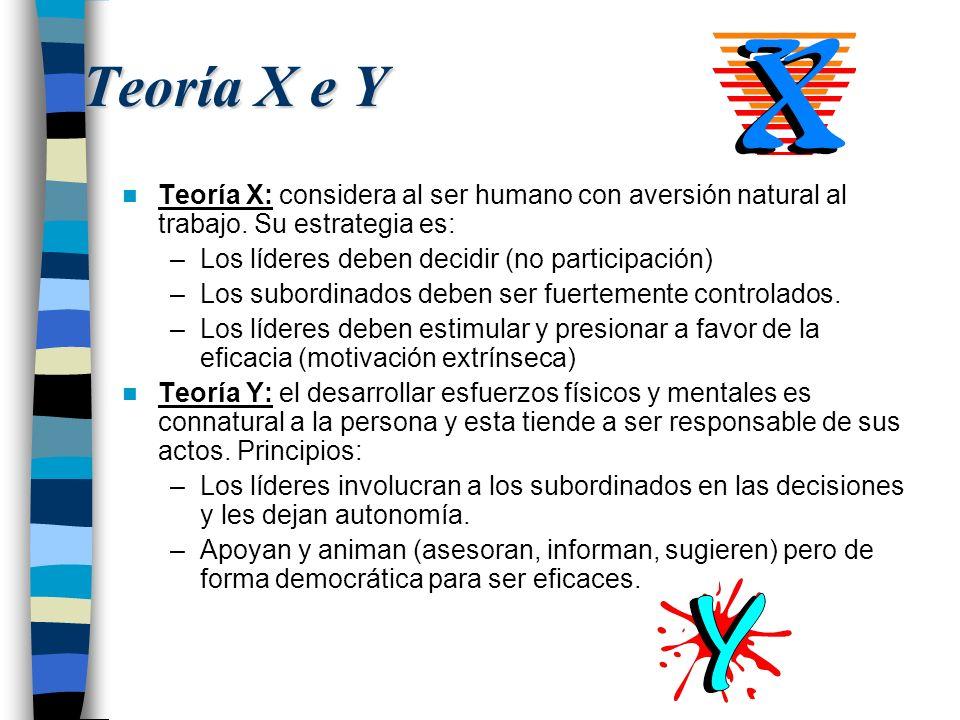 Teoría X e Y Teoría X: considera al ser humano con aversión natural al trabajo. Su estrategia es: Los líderes deben decidir (no participación)