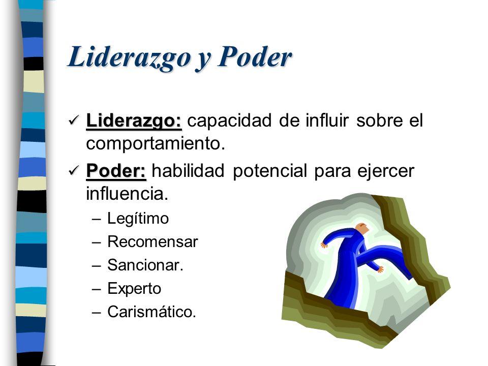 Liderazgo y Poder Liderazgo: capacidad de influir sobre el comportamiento. Poder: habilidad potencial para ejercer influencia.