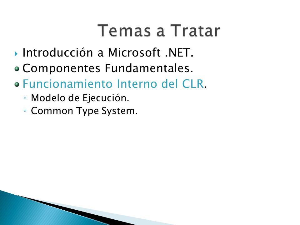 Temas a Tratar Introducción a Microsoft .NET.