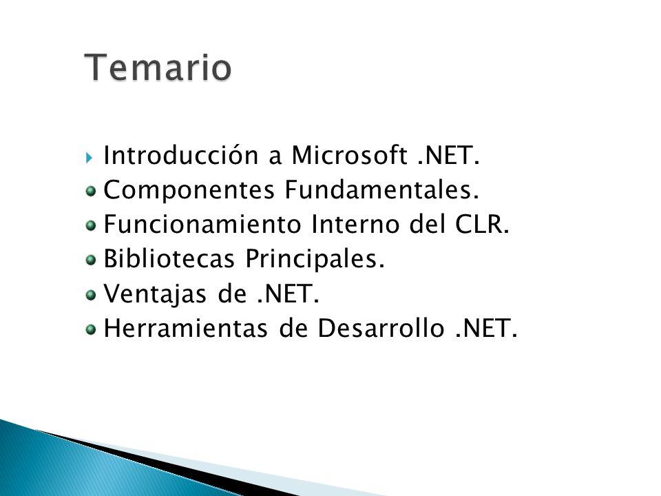 Temario Introducción a Microsoft .NET. Componentes Fundamentales.