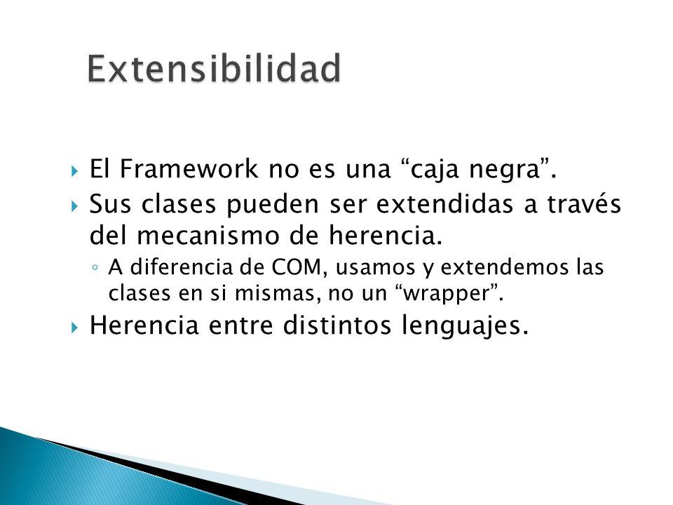 Extensibilidad El Framework no es una caja negra .