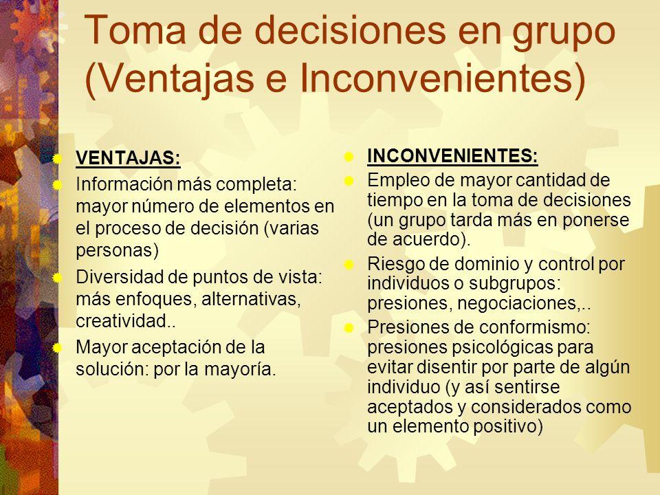 Toma de decisiones en grupo (Ventajas e Inconvenientes)