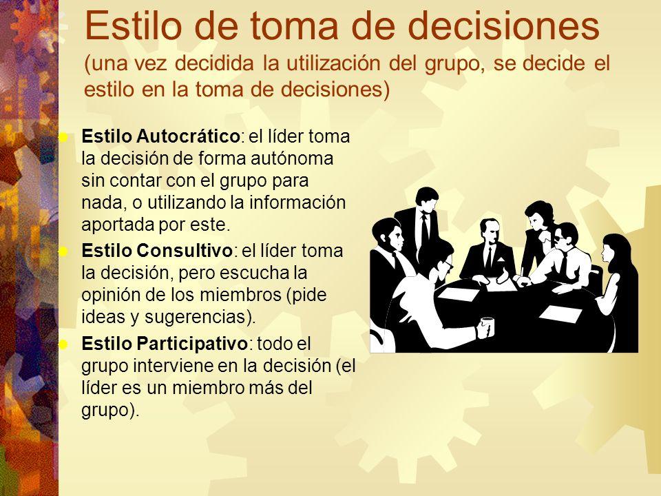 Estilo de toma de decisiones (una vez decidida la utilización del grupo, se decide el estilo en la toma de decisiones)