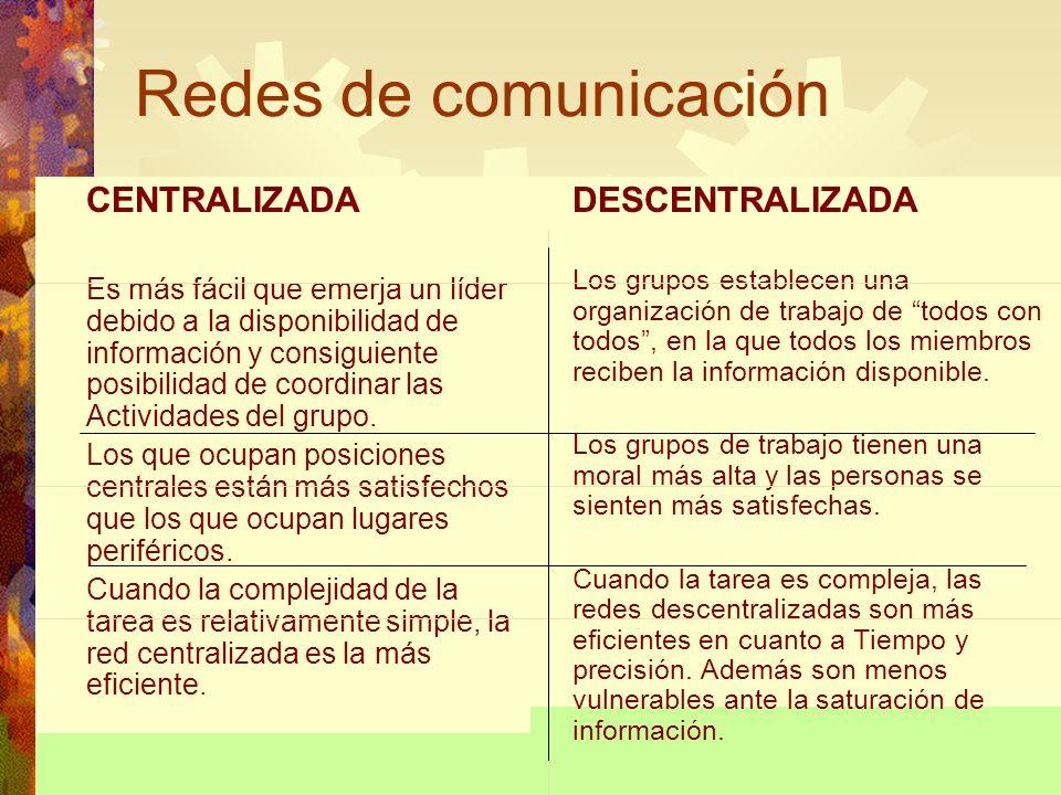 Redes de comunicación CENTRALIZADA DESCENTRALIZADA