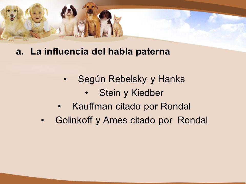 La influencia del habla paterna Según Rebelsky y Hanks Stein y Kiedber