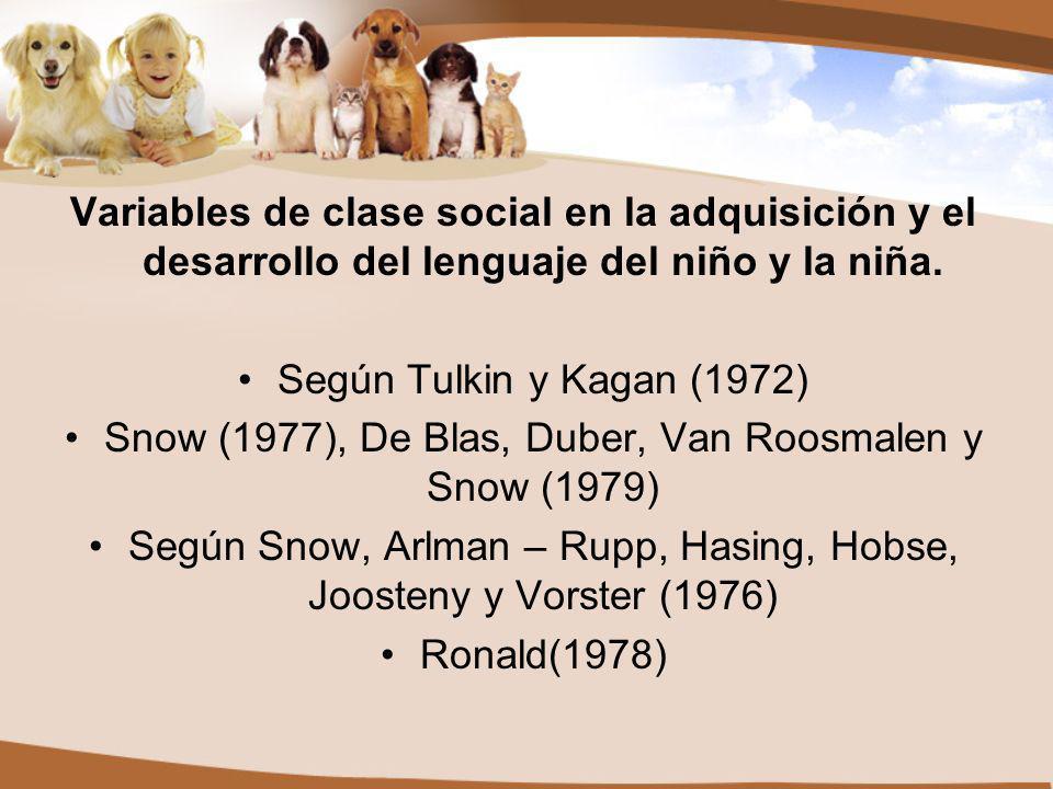 Snow (1977), De Blas, Duber, Van Roosmalen y Snow (1979)