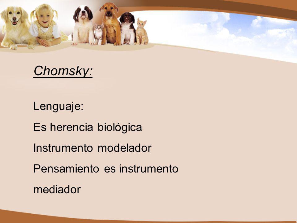Chomsky: Lenguaje: Es herencia biológica Instrumento modelador Pensamiento es instrumento mediador