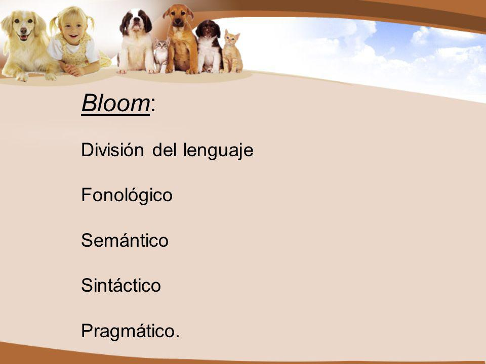 Bloom: División del lenguaje Fonológico Semántico Sintáctico