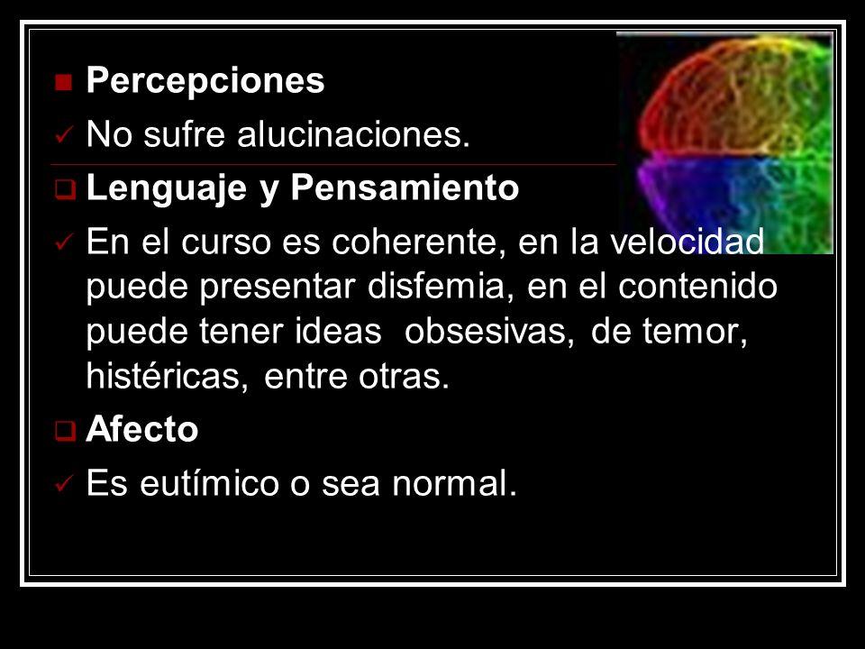 Percepciones No sufre alucinaciones. Lenguaje y Pensamiento.