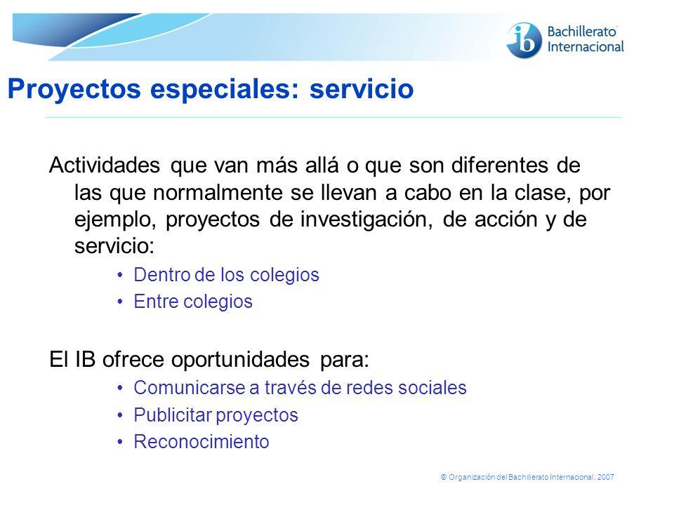 Proyectos especiales: servicio