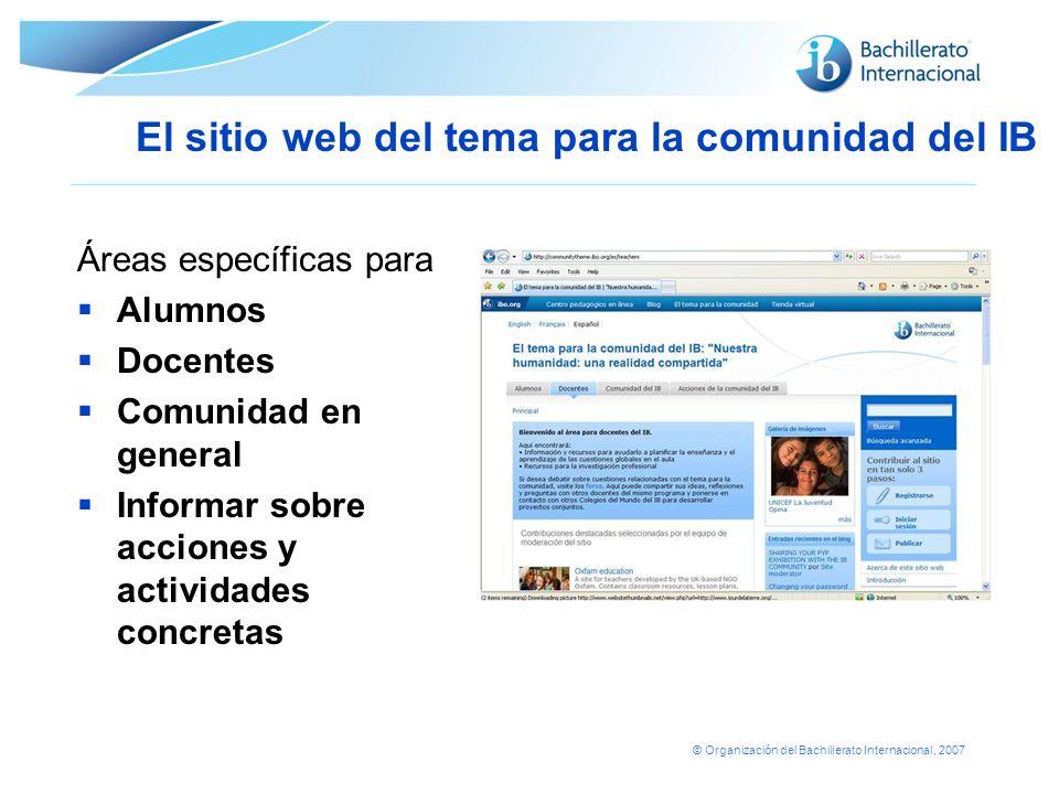 El sitio web del tema para la comunidad del IB