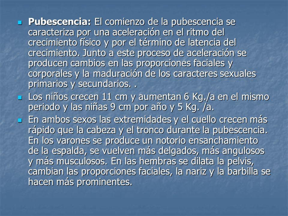 Pubescencia: El comienzo de la pubescencia se caracteriza por una aceleración en el ritmo del crecimiento físico y por el término de latencia del crecimiento. Junto a este proceso de aceleración se producen cambios en las proporciones faciales y corporales y la maduración de los caracteres sexuales primarios y secundarios. .