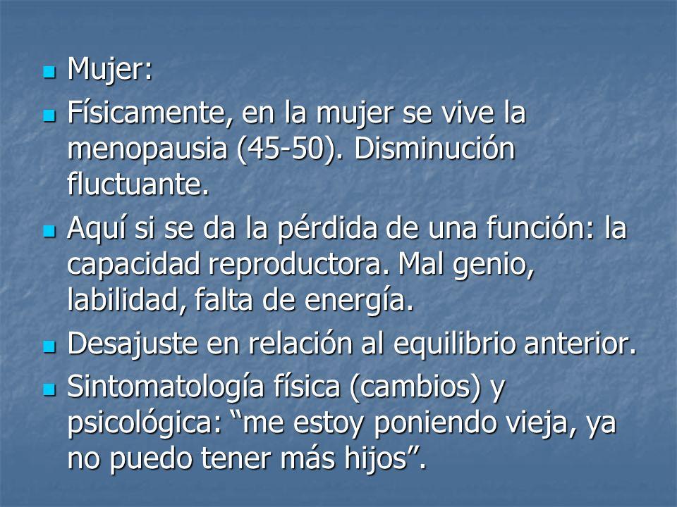 Mujer: Físicamente, en la mujer se vive la menopausia (45-50). Disminución fluctuante.