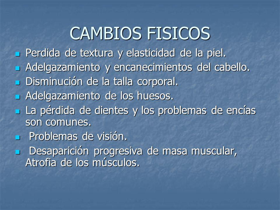 CAMBIOS FISICOS Perdida de textura y elasticidad de la piel.