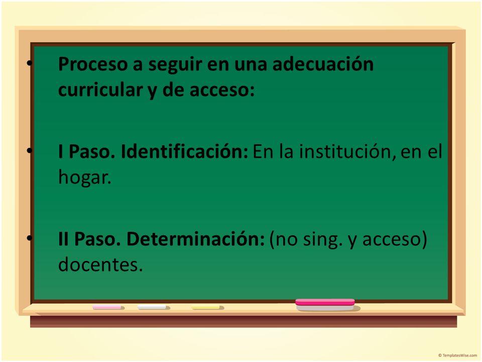 Proceso a seguir en una adecuación curricular y de acceso: