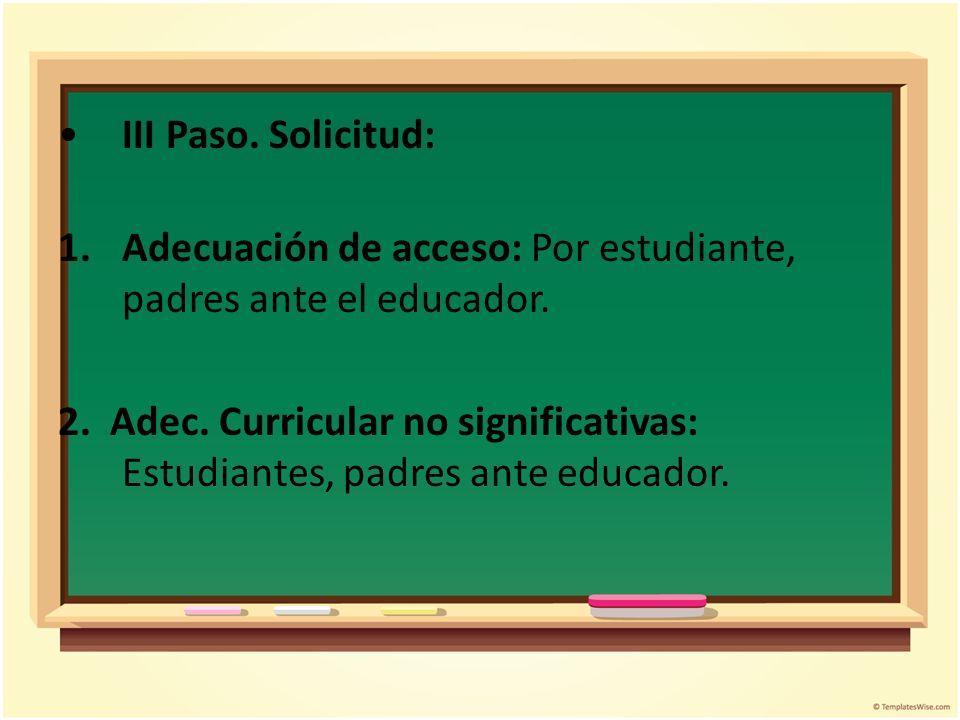 III Paso. Solicitud: Adecuación de acceso: Por estudiante, padres ante el educador.