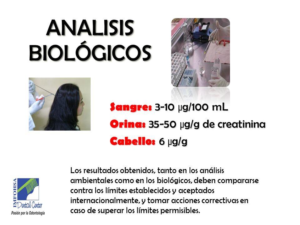 ANALISIS BIOLÓGICOSSangre: 3-10 µg/100 mL Orina: 35-50 µg/g de creatinina Cabello: 6 µg/g