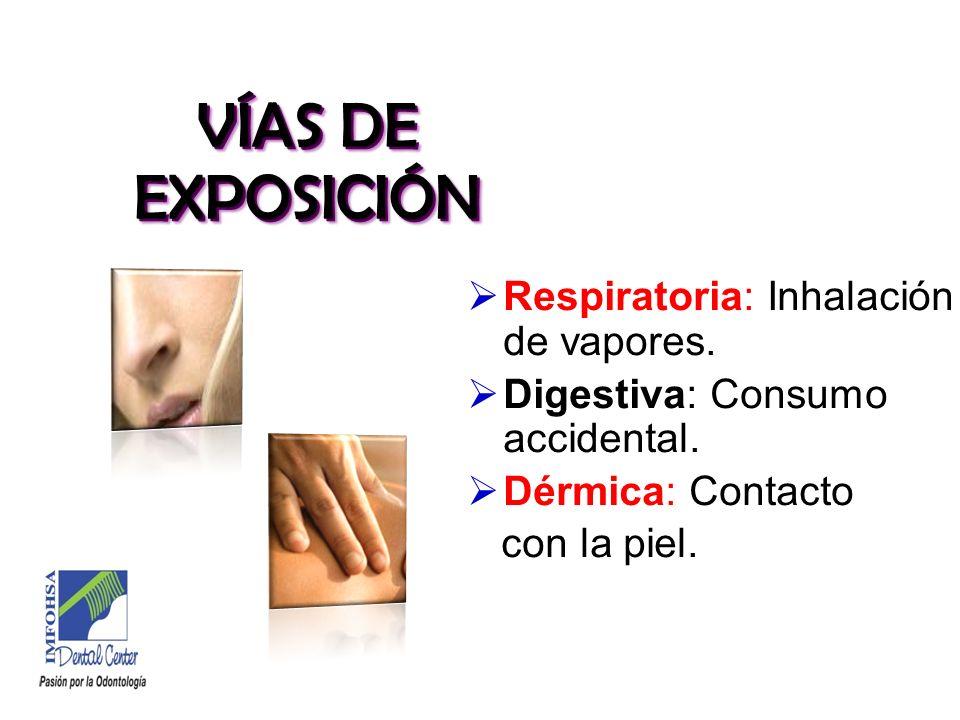 VÍAS DE EXPOSICIÓN Respiratoria: Inhalación de vapores.
