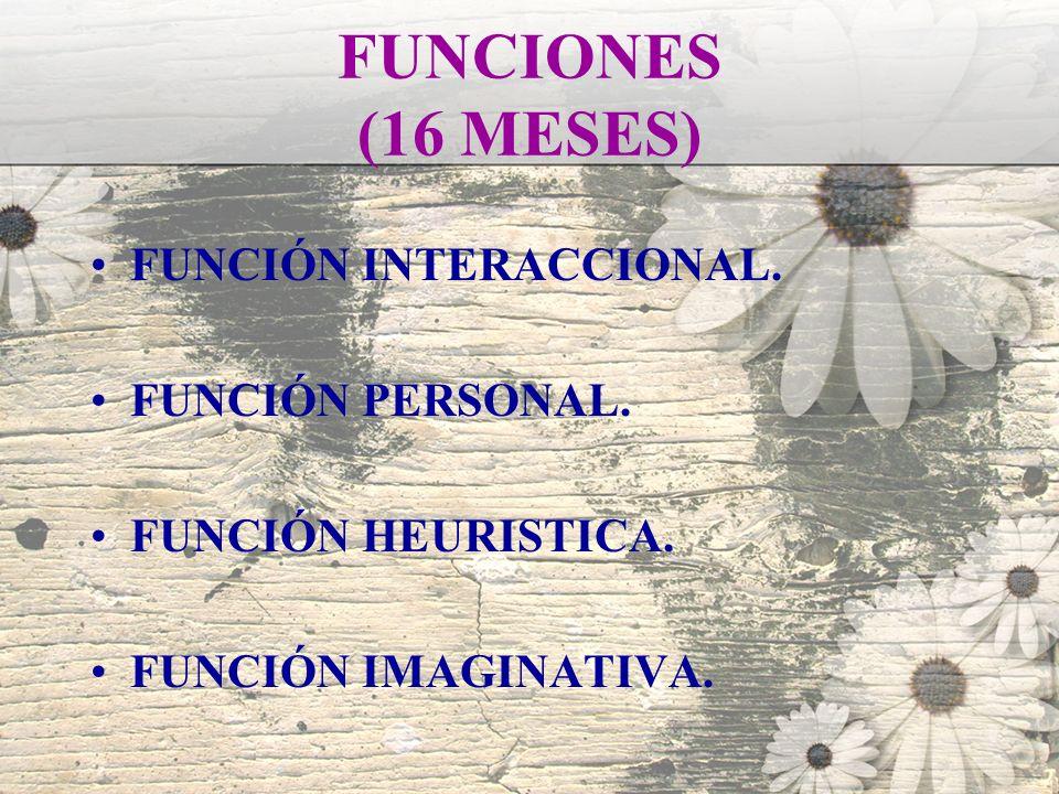 FUNCIONES (16 MESES) FUNCIÓN INTERACCIONAL. FUNCIÓN PERSONAL.