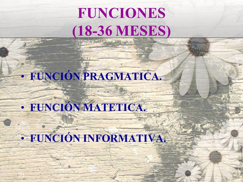 FUNCIONES (18-36 MESES) FUNCIÓN PRAGMATICA. FUNCIÓN MATETICA.