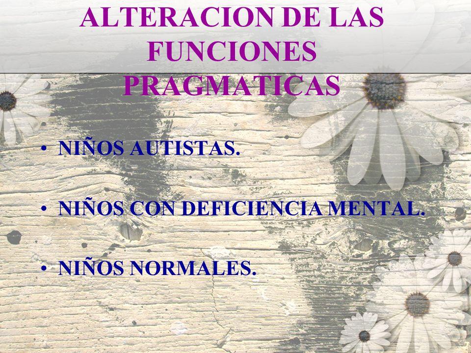 ALTERACION DE LAS FUNCIONES PRAGMATICAS