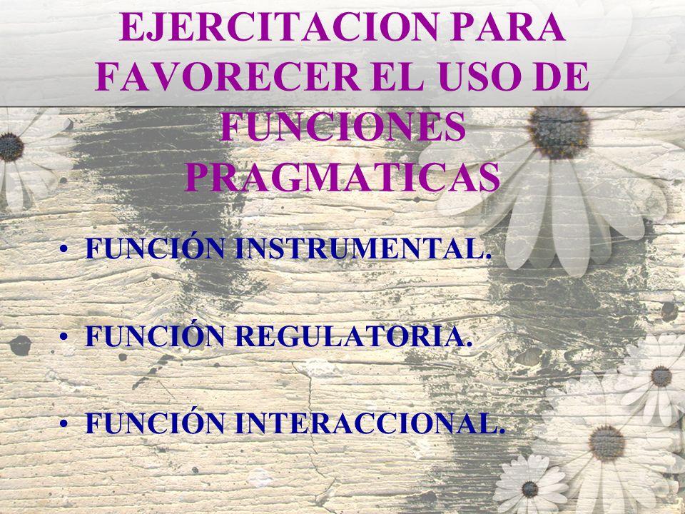 EJERCITACION PARA FAVORECER EL USO DE FUNCIONES PRAGMATICAS