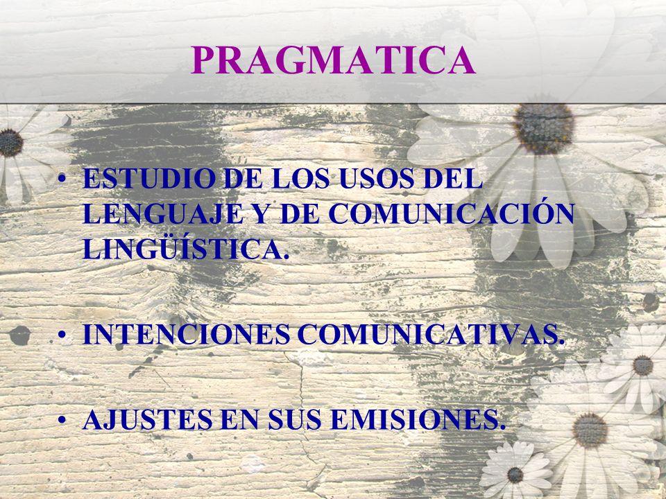 PRAGMATICA ESTUDIO DE LOS USOS DEL LENGUAJE Y DE COMUNICACIÓN LINGÜÍSTICA. INTENCIONES COMUNICATIVAS.