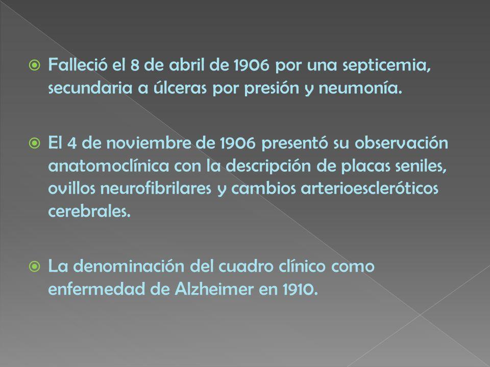 Falleció el 8 de abril de 1906 por una septicemia, secundaria a úlceras por presión y neumonía.