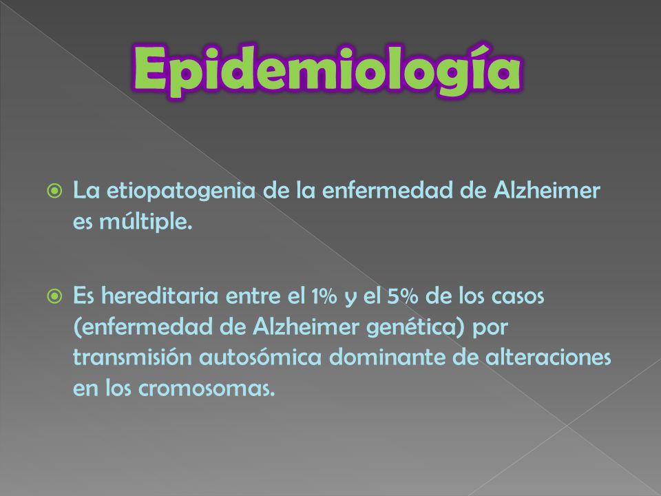 Epidemiología La etiopatogenia de la enfermedad de Alzheimer es múltiple.