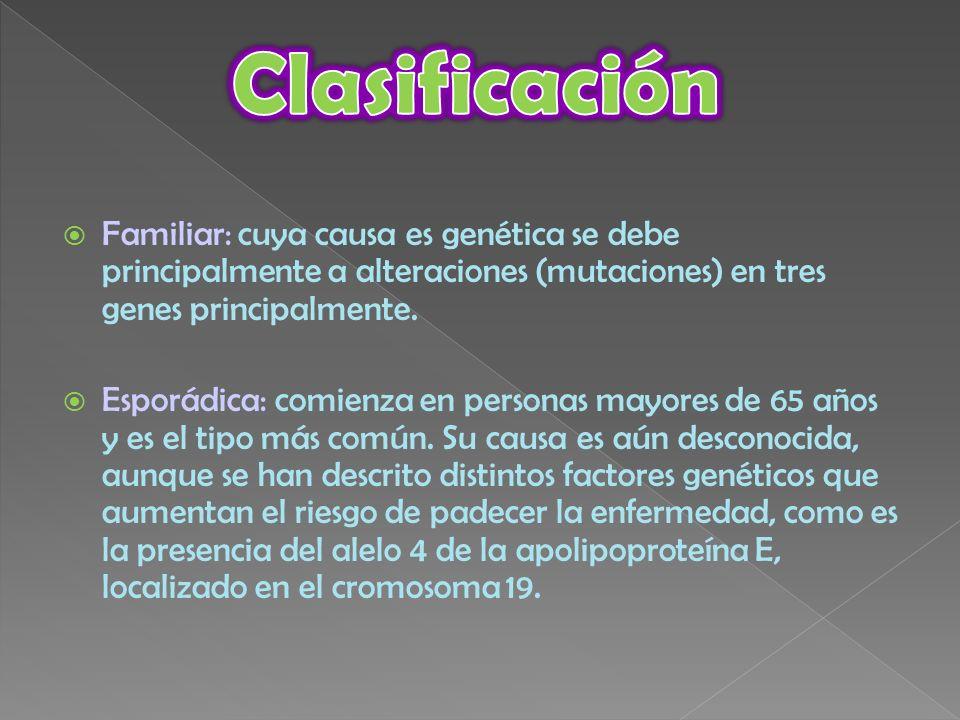 Clasificación Familiar: cuya causa es genética se debe principalmente a alteraciones (mutaciones) en tres genes principalmente.