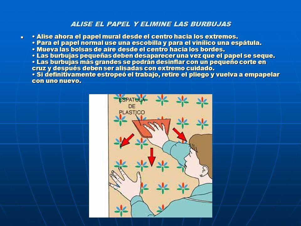 ALISE EL PAPEL Y ELIMINE LAS BURBUJAS