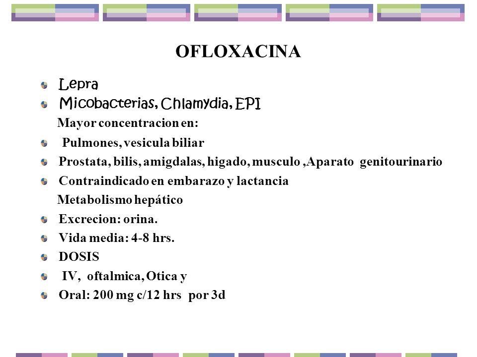 OFLOXACINA Lepra Micobacterias, Chlamydia, EPI Mayor concentracion en: