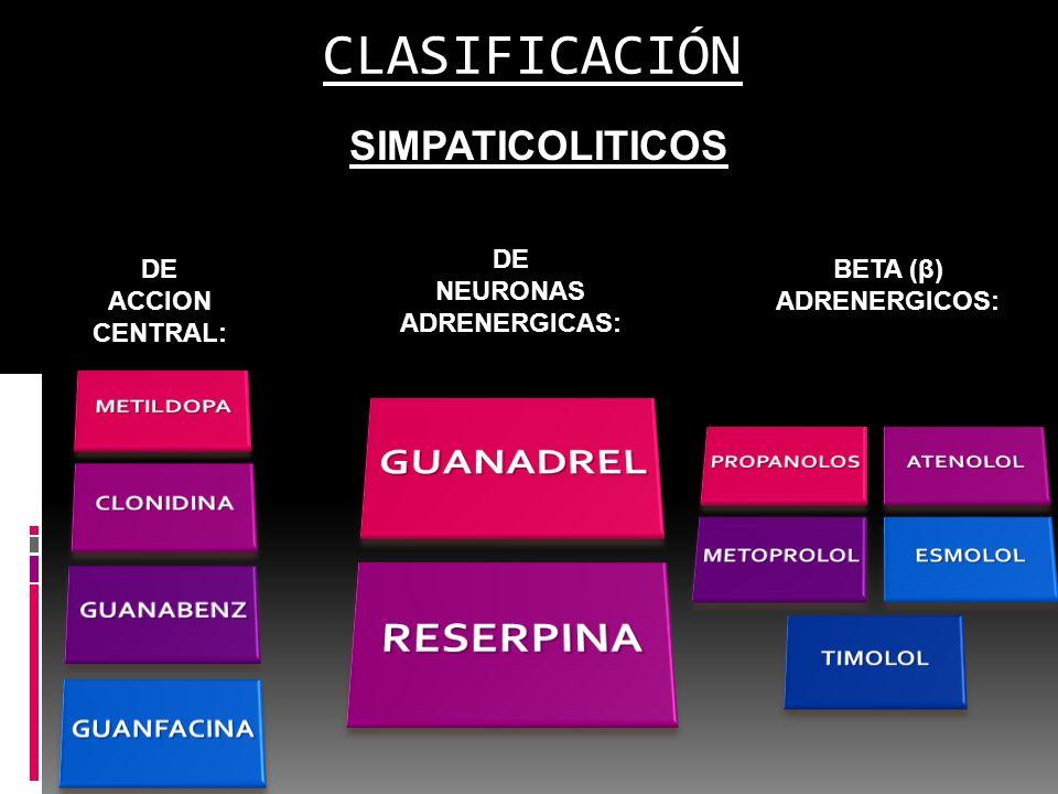CLASIFICACIÓN SIMPATICOLITICOS BLOQUEADORES DE NEURONAS ADRENERGICAS: