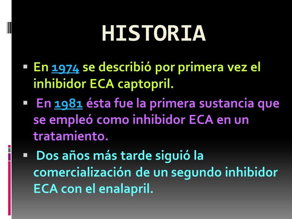 HISTORIA En 1974 se describió por primera vez el inhibidor ECA captopril.