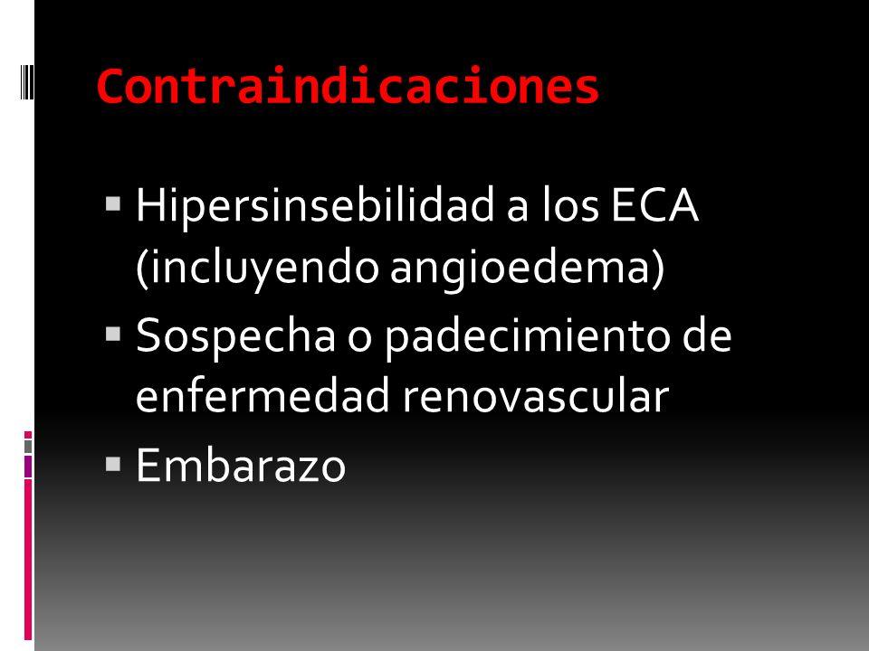 Contraindicaciones Hipersinsebilidad a los ECA (incluyendo angioedema)