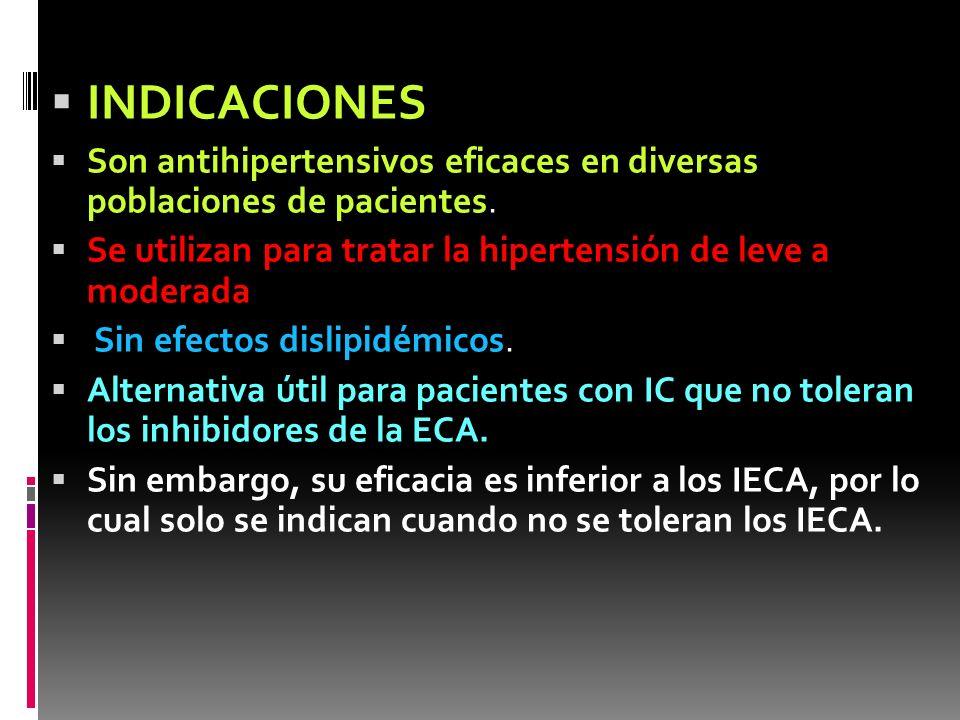 INDICACIONES Son antihipertensivos eficaces en diversas poblaciones de pacientes. Se utilizan para tratar la hipertensión de leve a moderada.