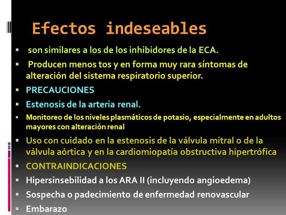 Efectos indeseables son similares a los de los inhibidores de la ECA.